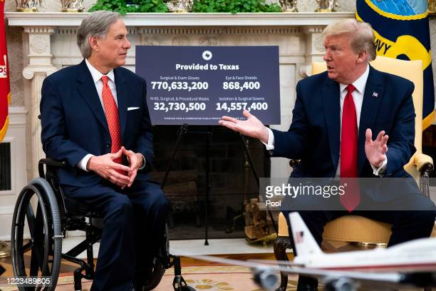 S President Donald Trump speaks to reporters while hosting Texas Governor Greg Abbott about what his state has done to restart business during the...