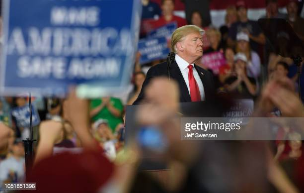 S President Donald Trump speaks to supporters at a rally at the Erie Insurance Arena on October 10 2018 in Erie Pennsylvania This was the second...