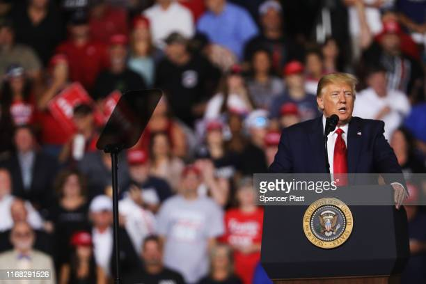 S President Donald Trump speaks to supporters at a rally in Manchester on August 15 2019 in Manchester New Hampshire The Trump 2020 campaign is...