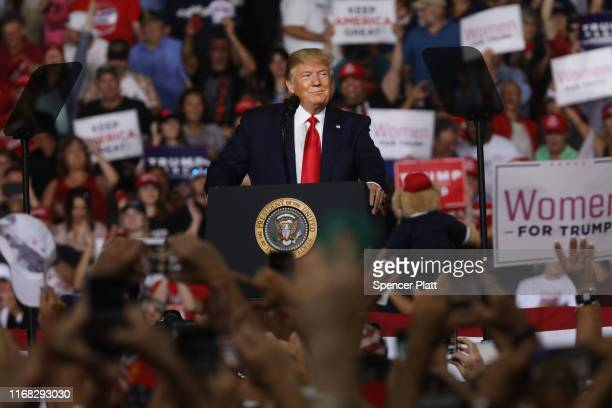 President Donald Trump speaks to supporters at a rally in Manchester on August 15 2019 in Manchester New Hampshire The Trump 2020 campaign is looking...