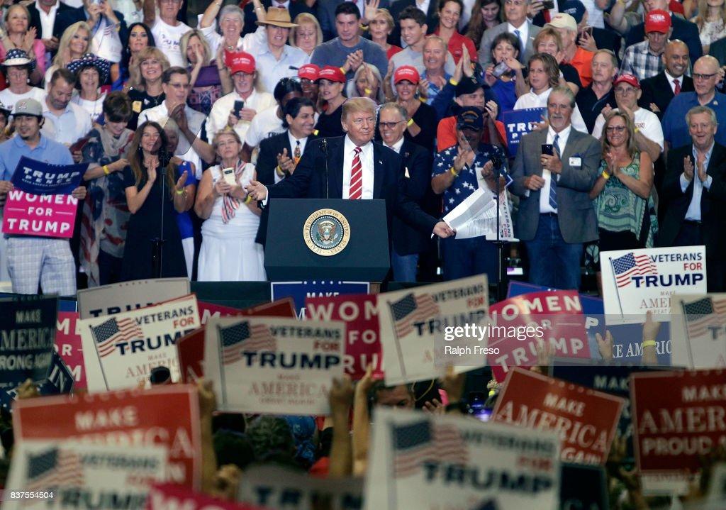 President Trump Holds Rally In Phoenix, Arizona : News Photo