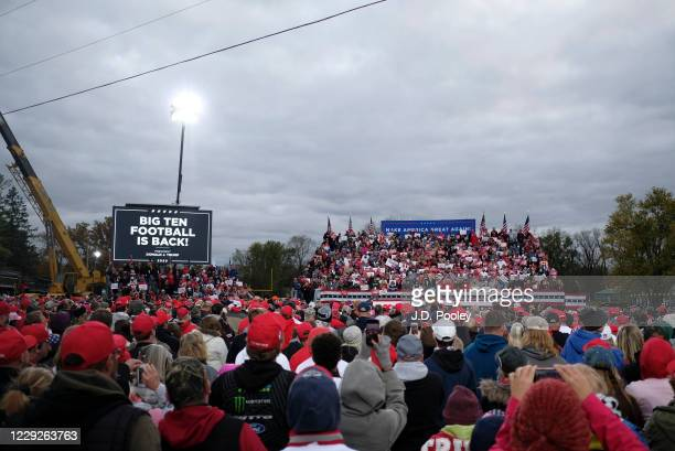 President Donald Trump speaks to supporters during a campaign event on October 24, 2020 in Circleville, Ohio. President Trump continues to campaign...