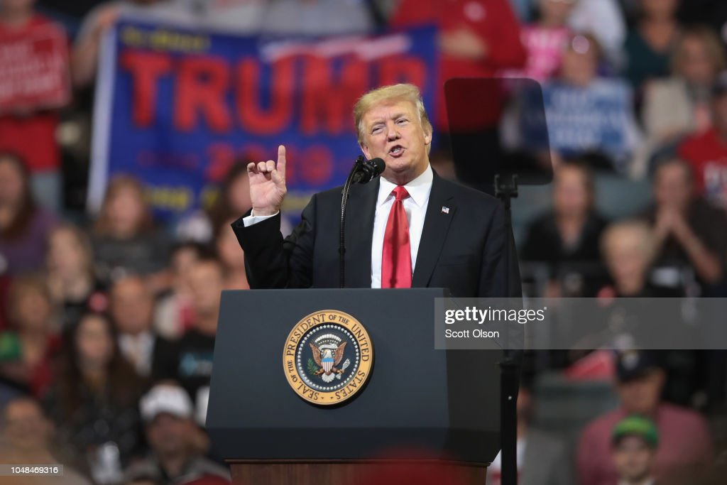 President Trump Holds Rally In Council Bluffs, Iowa : News Photo
