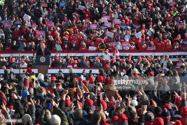 President Donald Trump speaks to supporters during a campaign rally at Green Bay-Austin Straubel International Airport on October 30, 2020 in Green...