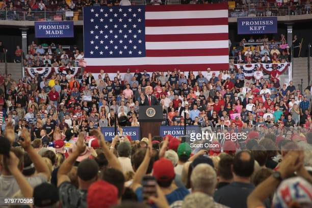 President Donald Trump speaks to supporters during a campaign rally at the Amsoil Arena on June 20 2018 in Duluth Minnesota Earlier today President...
