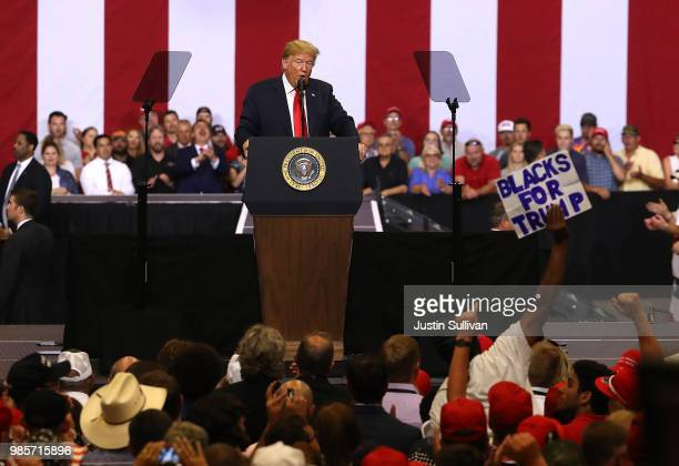 S president Donald Trump speaks to supporters during a campaign rally at Scheels Arena on June 27 2018 in Fargo North Dakota President Trump held a...