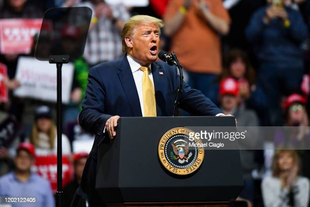 President Donald Trump speaks to supporters during a Keep America Great rally on February 20 2020 in Colorado Springs Colorado Vice President Mike...