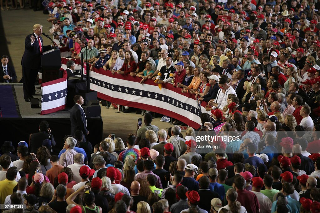 President Trump Marks 100 Days In Office With Rally In Pennsylvania : News Photo