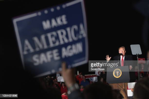 President Donald Trump speaks to supporters during a rally at the Southern Illinois Airport on October 27 in Murphysboro Illinois Trump is visiting...
