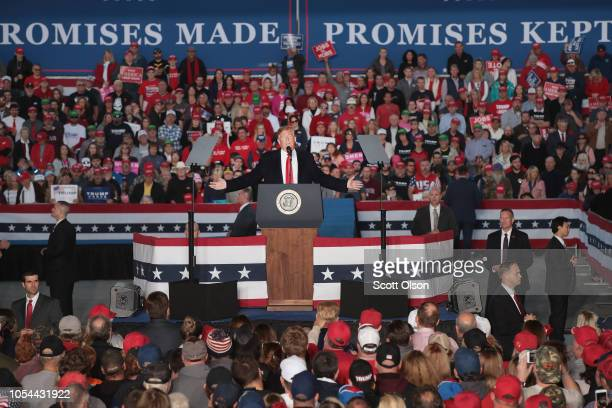 President Donald Trump speaks to supporters during a rally at the Southern Illinois Airport on October 27, in Murphysboro, Illinois. Trump is...