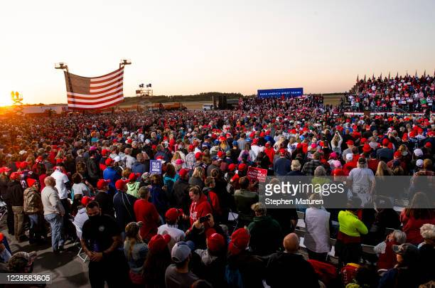 President Donald Trump speaks to supporters during a rally at the Bemidji Regional Airport on September 18, 2020 in Bemidji, Minnesota. Trump and...
