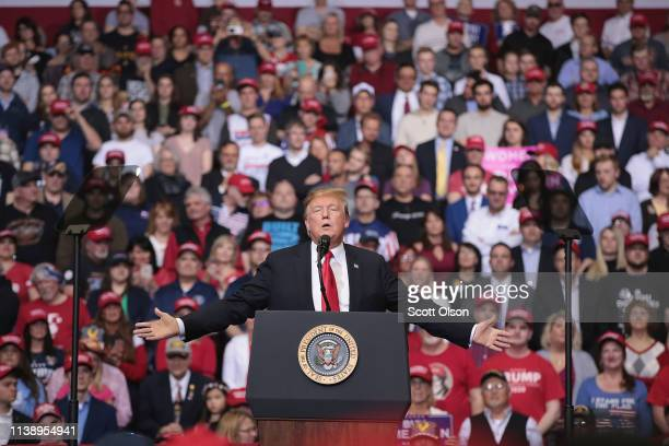 President Donald Trump speaks to supporters during a rally at the Van Andel Arena on March 28, 2019 in Grand Rapids, Michigan. Grand Rapids was the...
