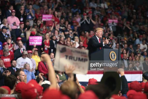 President Donald Trump speaks to supporters during a rally at the Van Andel Arena on March 28 2019 in Grand Rapids Michigan Grand Rapids was the...