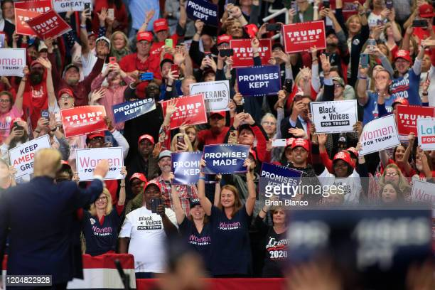 President Donald Trump speaks to supporters during a rally on March 2, 2020 in Charlotte, North Carolina. Trump was campaigning ahead of Super...