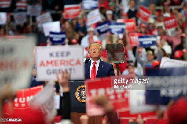 S President Donald Trump speaks to supporters during a rally on March 2 2020 in Charlotte North Carolina Trump was campaigning ahead of Super Tuesday