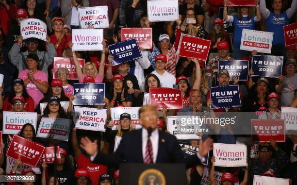 President Donald Trump speaks to the crowd at a campaign rally at Las Vegas Convention Center on February 21 2020 in Las Vegas Nevada The upcoming...