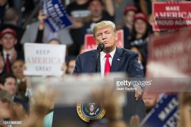 President Donald Trump speaks to the crowd during a campaign rally at Freedom Hall on October 1 2018 in Johnson City Tennessee President Trump held...