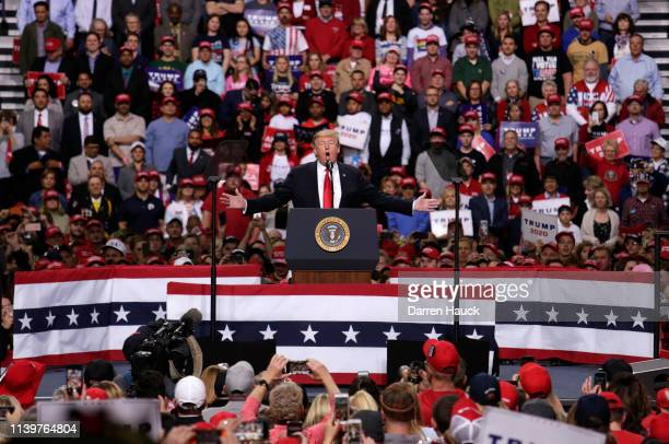President Donald Trump speaks to the crowd of supporters at a Make America Great Again rally on April 27, 2019 in Green Bay, Wisconsin.