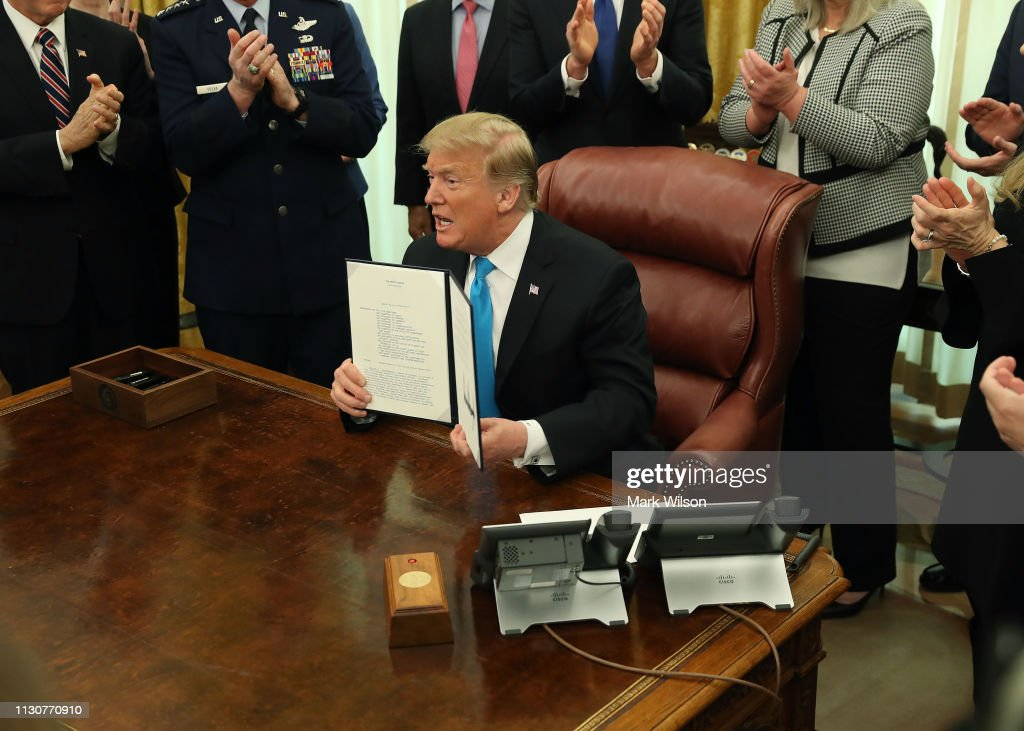 President Trump Holds Signing Ceremony For Space Policy Directive 4 : News Photo