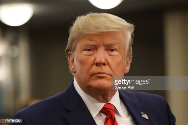 President Donald Trump speaks to the media at the United Nations General Assembly on September 24, 2019 in New York City. World leaders are gathered...