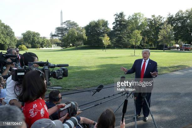 President Donald Trump speaks to the media before departing from the White House on September 16, 2019 in Washington, DC. President Trump is...