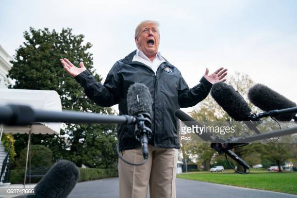 S President Donald Trump speaks to the media before departing the White House for California where he is scheduled to view damage from the state's...