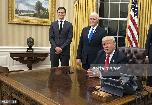 President Donald Trump speaks to the media before signing a confirmation for Defense Secretary James Mattis in the Oval Office at the White House in...