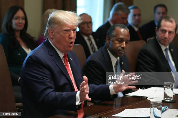 S President Donald Trump speaks to the media during a cabinet meeting at the White House on November 19 2019 in Washington DC President Trump briefly...