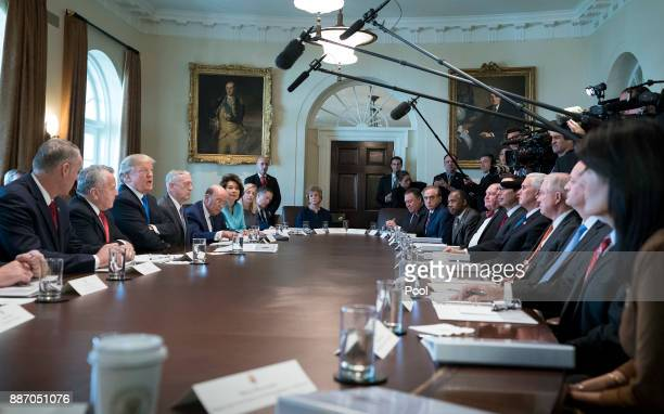President Donald Trump speaks to the media during a Cabinet meeting at the White House on December 6, 2017 in Washington, D.C.