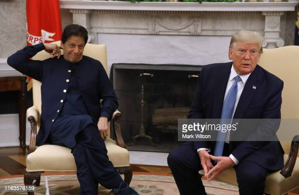 S President Donald Trump speaks to the media during a meeting with Prime Minister of the Islamic Republic of Pakistan Imran Khan in the Oval Office...