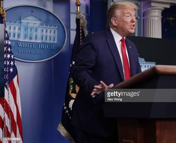 S President Donald Trump speaks to the media in the briefing room at the White House on May 22 2020 in Washington DC President Trump announced news...