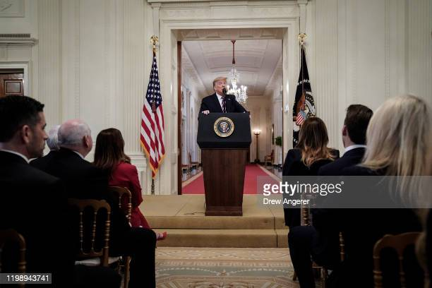 S President Donald Trump speaks to the media in the East Room of the White House one day after the US Senate acquitted him on two articles of...
