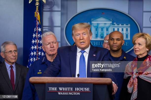 President Donald Trump speaks to the media in the press briefing room at the White House on March 15, 2020 in Washington, DC. The United States has...