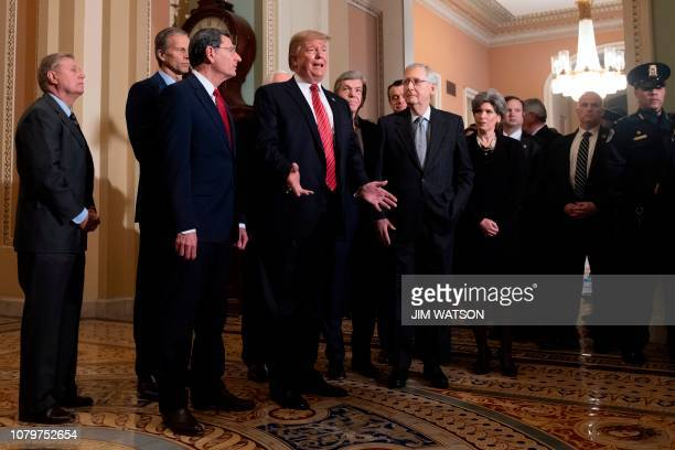 US President Donald Trump speaks to the media next to Senate Majority Leader Mitch McConnelland other congressional leaders after a Senate Republican...