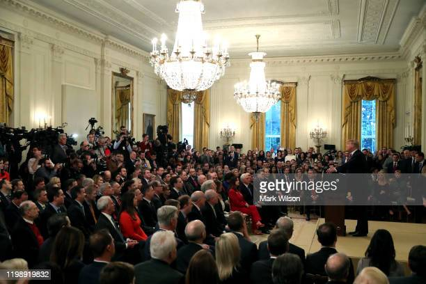 S President Donald Trump speaks to the media one day after the US Senate acquitted on two articles of impeachment in the East Room of the White House...