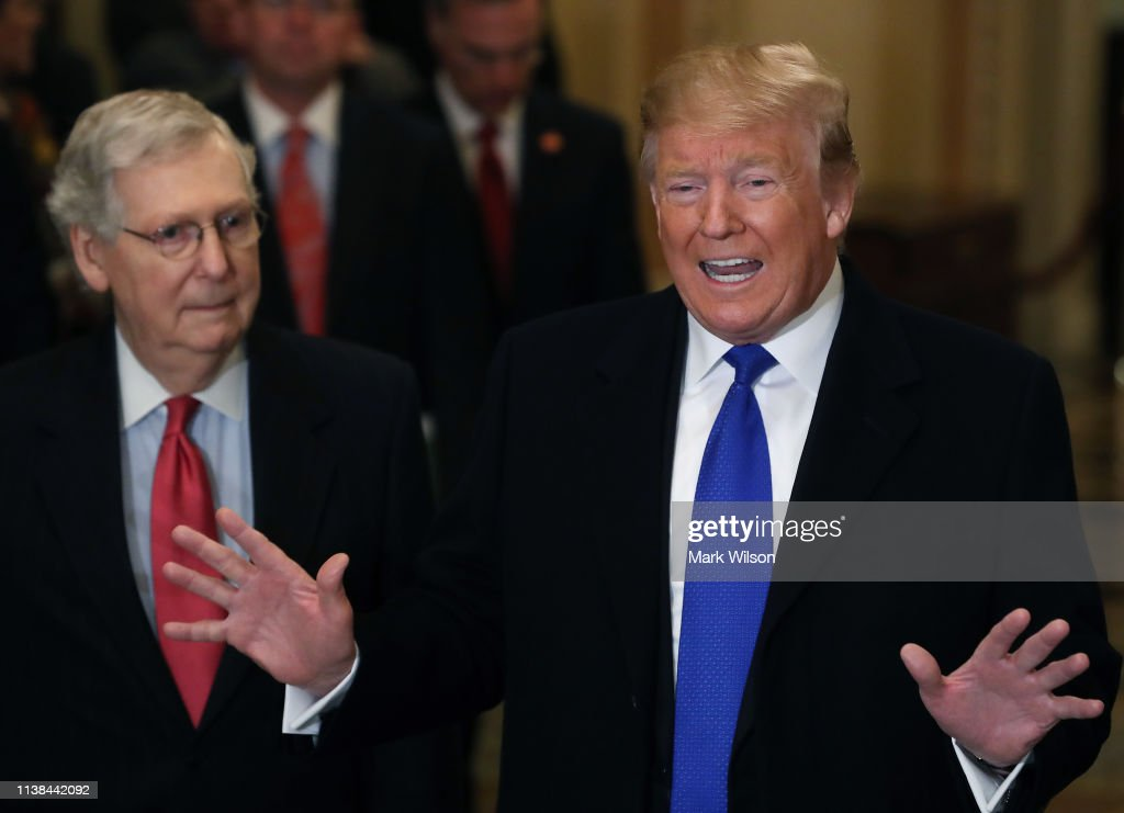 President Donald Trump Joins Senate Republicans For Their Weekly Policy Luncheon : News Photo