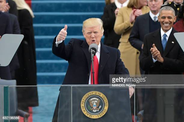 President Donald Trump speaks to the nation during his swearingin ceremony on January 20 2017 at the US Capitol in Washington DC / AFP / Mandel NGAN