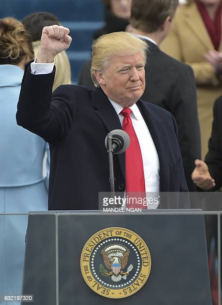 US President Donald Trump speaks to the nation during his swearingin ceremony on January 20 2017 at the US Capitol in Washington DC / AFP / Mandel...
