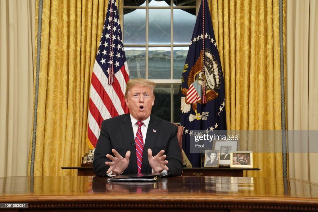 President Trump Addresses The Nation On Border Security From The Oval Office : News Photo
