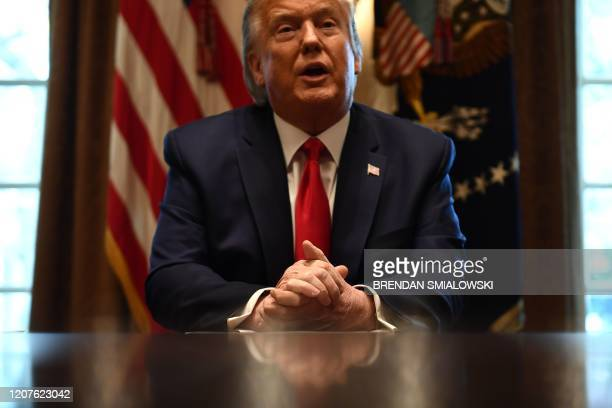 President Donald Trump speaks to the press after a meeting with nursing industry representatives on the response to the novel coronavirus, COVID-19,...