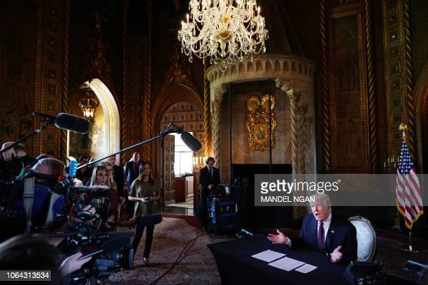 President Donald Trump speaks to the press after talking to members of the military via teleconference from his MaraLago resort in Palm Beach Florida...