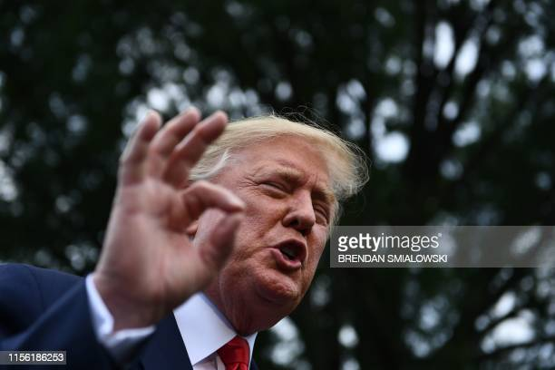 US President Donald Trump speaks to the press as he departs the White House in Washington DC on July 17 2019 Trump travels to Greenville North...
