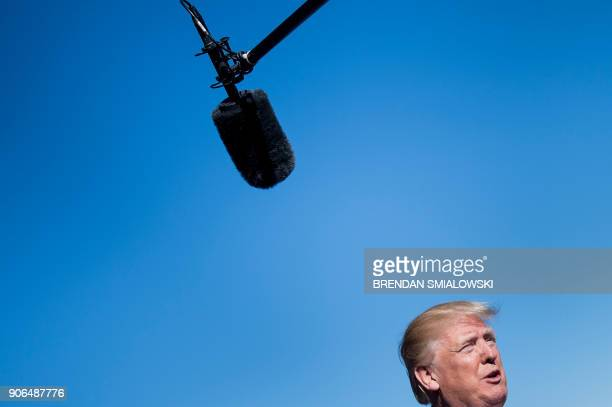 US President Donald Trump speaks to the press before a meeting in the Pentagon January 18 2018 in Washington DC / AFP PHOTO / Brendan Smialowski