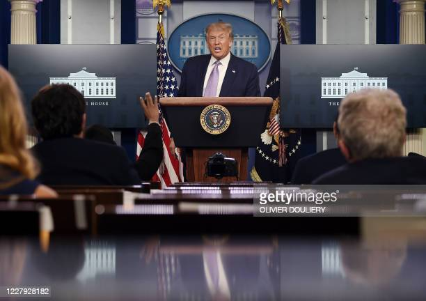 US President Donald Trump speaks to the press in the Brady Briefing Room of the White House in Washington DC on August 5 2020