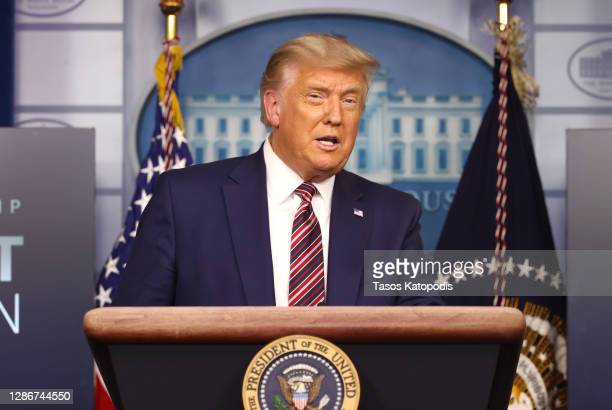 President Donald Trump speaks to the press in the James Brady Press Briefing Room at the White House on November 20, 2020 in Washington, DC. U.S....
