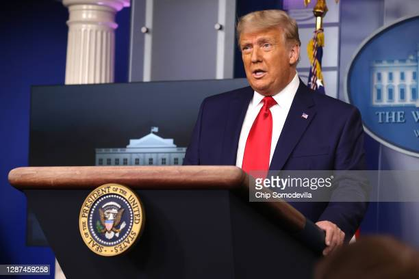 President Donald Trump speaks to the press in the James Brady Press Briefing Room at the White House on November 24, 2020 in Washington, DC. Trump...