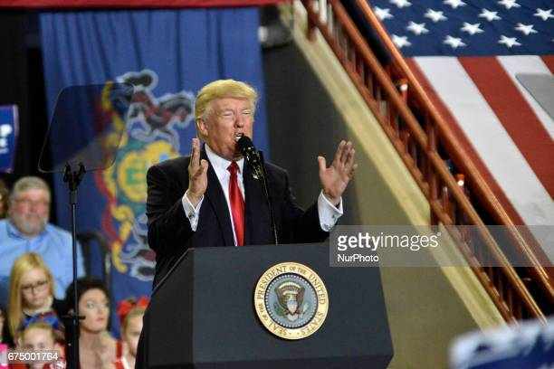 President Donald Trump speaks to thousands at a April 29 2017 quotMake America Great Againquot rally in Harrisburg PA The Make America Great Again...