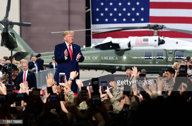 S President Donald Trump speaks to US troops at the Osan Airbase on June 20 2019 in Pyeongtaek South Korea US President Donald Trump and North Korean...