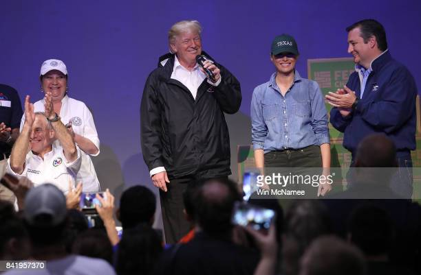 S President Donald Trump speaks to volunteers packing emergency supplies for residents impacted by Hurricane Harvey at the First Church of Pearland...