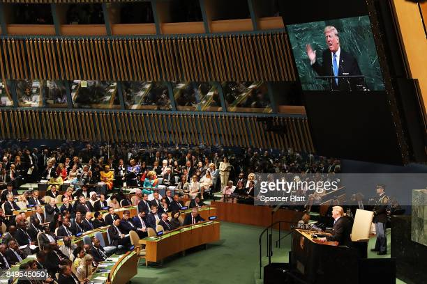 President Donald Trump speaks to world leaders at the 72nd United Nations General Assembly at UN headquarters in New York on September 19 2017 in New...